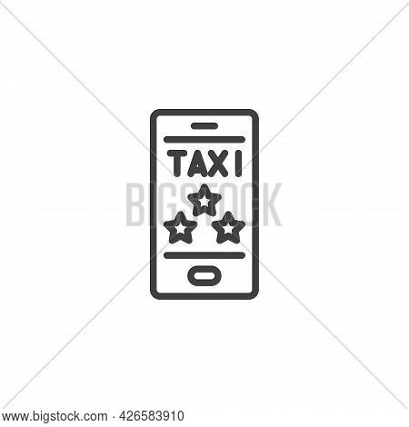 Taxi Rating Stars Feedback Line Icon. Linear Style Sign For Mobile Concept And Web Design. Taxi Cust