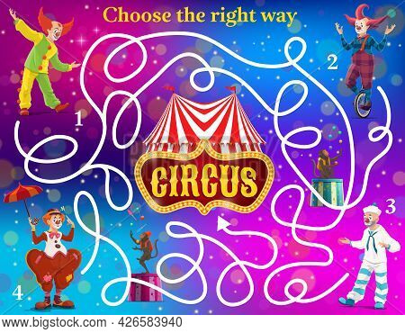 Labyrinth Maze Vector Kids Game With Circus Clowns. Find Right Way To Circus Shapito Big Top Tent Ed