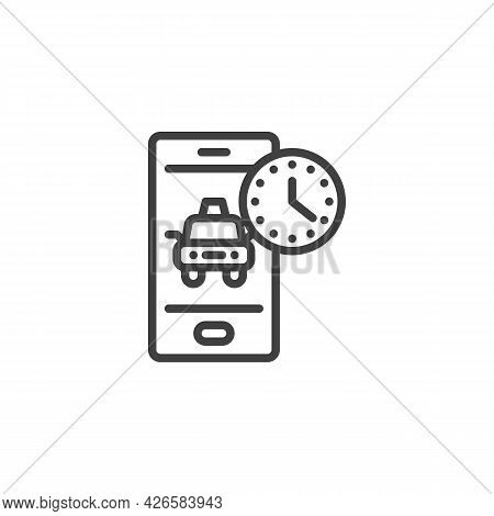 Taxi Waiting Time Line Icon. Linear Style Sign For Mobile Concept And Web Design. Taxi Drive Time Ou