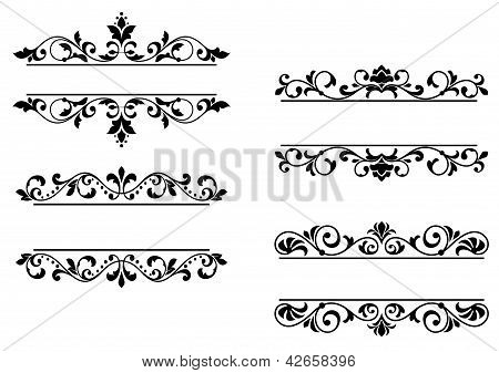 Floral headers and borders in retro style poster