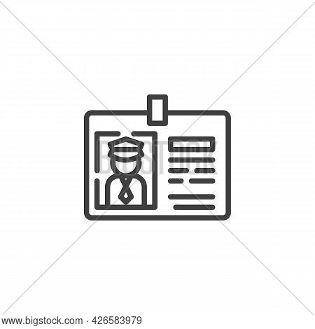 Taxi Driver License Line Icon. Linear Style Sign For Mobile Concept And Web Design. Taxi License Bad