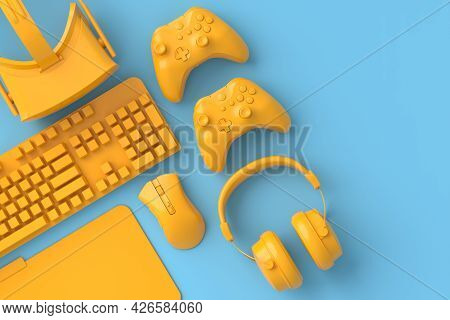 Top View Of Gamer Workspace And Monochrome Gear Like Mouse, Keyboard, Joystick, Headset, Vr Headset
