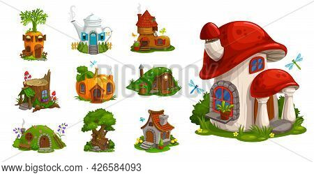 Gnome Houses Vector Icons, Cartoon Fantasy Building Made Of Plants, Vegetables And Trees With Green