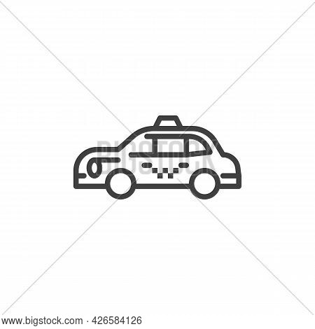 Taxi Cab Line Icon. Linear Style Sign For Mobile Concept And Web Design. Taxi Car Outline Vector Ico