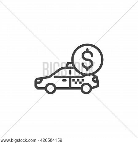 Taxi Cash Payment Line Icon. Linear Style Sign For Mobile Concept And Web Design. Taxi Payment Servi