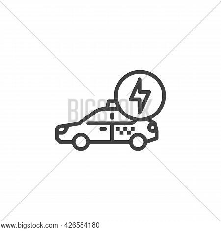 Electric Taxi Car Line Icon. Linear Style Sign For Mobile Concept And Web Design. Taxi Charging Serv