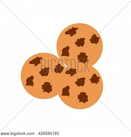 Round Cookies With Chocolate Chips On An Isolated Background. Appetizer Or Dessert. Flat Design Elem