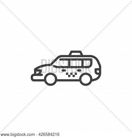 Minivan Taxi Service Line Icon. Linear Style Sign For Mobile Concept And Web Design. Taxi Cab Outlin