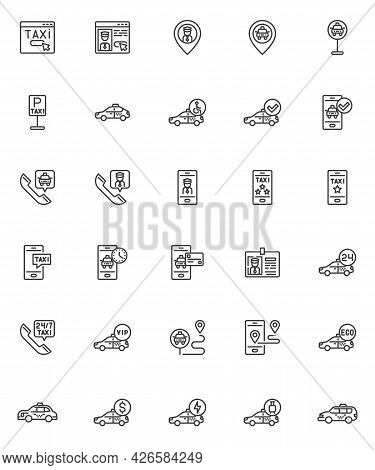 Taxi Service Line Icons Set. Linear Style Symbols Collection, Outline Signs Pack. Taxi Ordering Vect