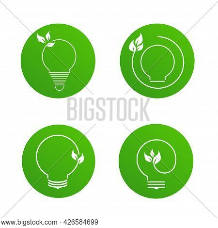 Set Green Contour Of Electric Light Bulb With Green Leaves. Isolated On White. Flat Line Icon. Vecto