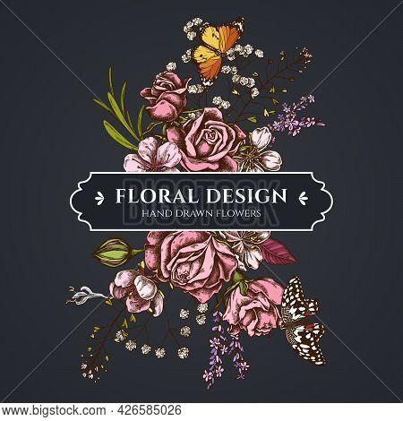 Floral Bouquet Dark Design With Shepherd S Purse, Heather, Iris Japonica, Sakura, Gypsophila, Almond