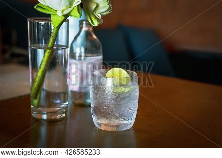 Glass Or Fresh Sparkling Mineral Water With Slice Of Lime