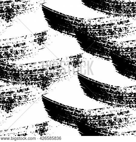 Seamless Pattern With Black Brushstrokes In Abstract Shapes On White Background. Abstract Ink Grunge