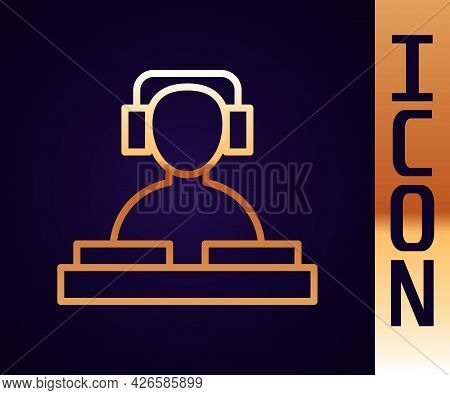 Gold Line Dj Wearing Headphones In Front Of Record Decks Icon Isolated On Black Background. Dj Playi
