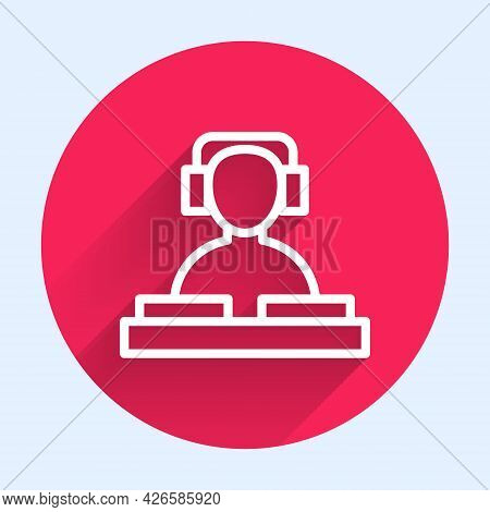 White Line Dj Wearing Headphones In Front Of Record Decks Icon Isolated With Long Shadow. Dj Playing