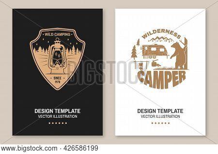 Happy Camper. Vector. Concept For Shirt Or Logo, Print, Stamp Or Tee. Flyer, Brochure, Banner, Poste