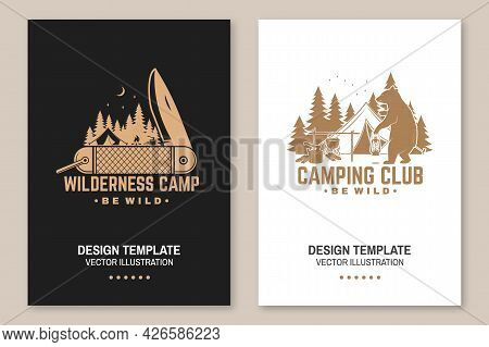Happy Camper. Be Wild. Vector. Concept For Shirt Or Logo, Print, Stamp Or Tee. Flyer, Brochure, Bann
