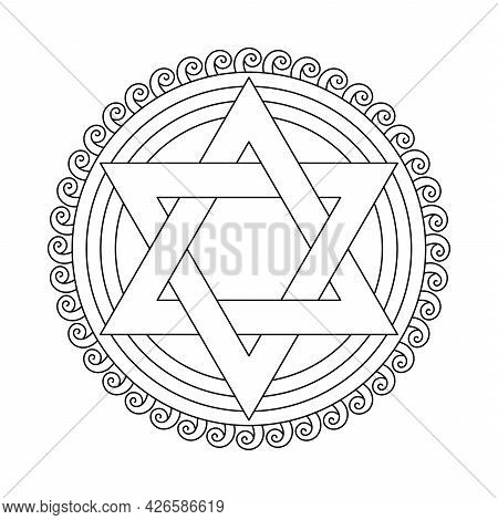 Coloring Book Jewish Star Of David. Mandala With Six Pointed Star. Vector Illustration