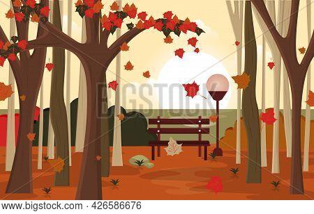 Autumn Fall Season Countryside Park Nature Landscape Illustration