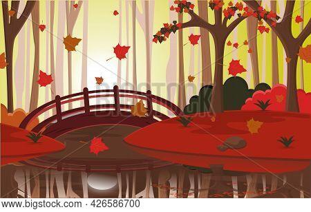 Autumn Fall Season Countryside River Bridge Nature Landscape Illustration