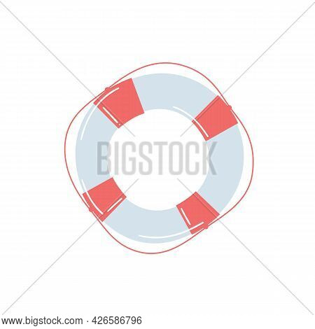 Lifebuoy On A Light Isolated Background. Sailor`s Items. For The Design Of Children`s Rooms, Postcar