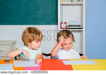 Little Ready To Study. Funny Toddlers From Elementary School. Kids Funny Education. Preschool Childr