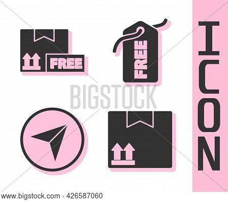 Set Cardboard Box With Traffic Symbol, Cardboard Box With Free Symbol, Infographic Of City Map Navig