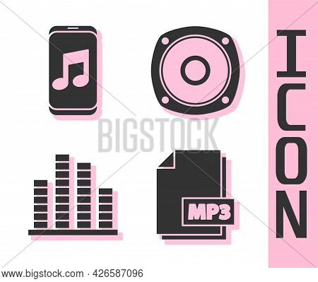 Set Mp3 File Document, Music Player, Music Equalizer And Stereo Speaker Icon. Vector