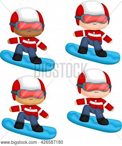 A Vector Of A Man Snowboarding With Multiple Skin Tones Options