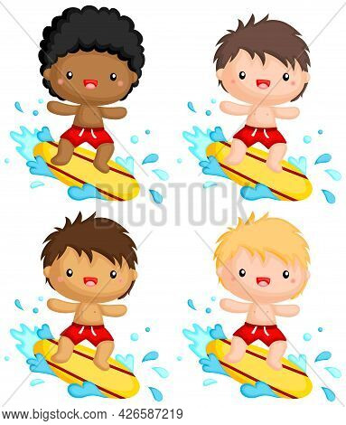 A Vector Of Surfer With Multiple Skin Tones Options