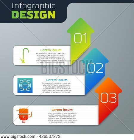 Set Water Tap, Manhole Sewer Cover And Electric Boiler For Heating Water. Business Infographic Templ