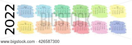 Horizontal Calendar For 2022 Isolated On A White Background. Sunday To Monday, Business Template. Ve