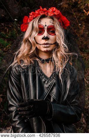 Closeup Portrait Of Calavera Catrina. Young Woman With Sugar Skull Makeup. Dia De Los Muertos. Day O