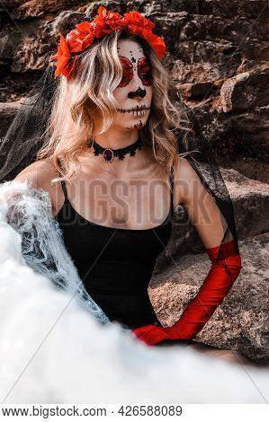 Closeup Portrait Of Calavera Catrina. Young Woman With Sugar Skull Makeup And White Spiderweb. Dia D