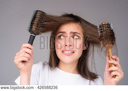 Woman Loosing Hair. Hair Loss Problem, Baldness.