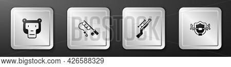 Set Monkey, Fishing Rod, Sniper Rifle With Scope And Deer Antlers Shield Icon. Silver Square Button.