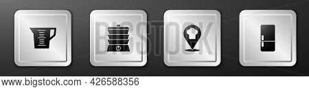 Set Measuring Cup, Slow Cooker, Chef Hat With Location And Refrigerator Icon. Silver Square Button.