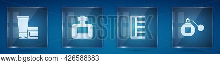 Set Cream Or Lotion Cosmetic Tube, Perfume, Hairbrush And . Square Glass Panels. Vector