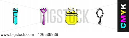Set Bottle With Potion, Magic Wand, Witch Cauldron And Hand Mirror Icon. Vector