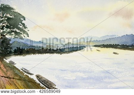 Watercolor Landscape Painting Colorful Of Mekong River, Mountain Natural And Forest With Village Rur