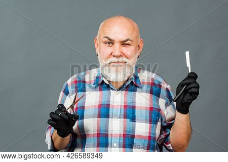 Funny Hairdresser Barber With Scissors And Razor. Portrait Of Stylish Man Bearded Man With Grey Mous