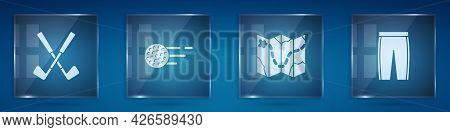 Set Crossed Golf Club, Golf Ball, Course Layout And Pants. Square Glass Panels. Vector