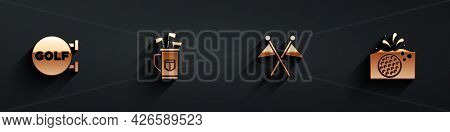 Set Golf Sport Club, Bag With Clubs, Flag And Ball In Water Icon With Long Shadow. Vector