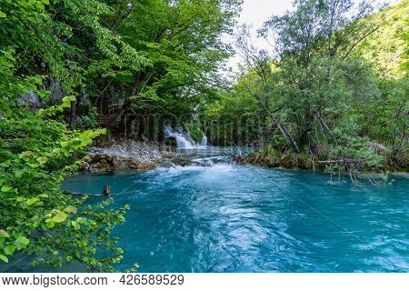 Beautiful Landscape In The Plitvice Lakes National Park In Croatia. One Of The Oldest And Largest Na
