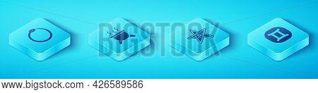 Set Isometric Ouroboros, Witch Cauldron, Gemini Zodiac And Pentagram Icon. Vector
