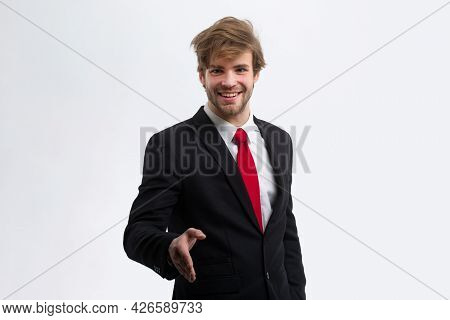 Business Concept. Welcome To Our Team. Business Man With Copy Space. Portrait Of A Handsome Smiling