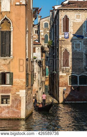 Venice Grand Canal With Gondolas, Italy In Summer, Europe