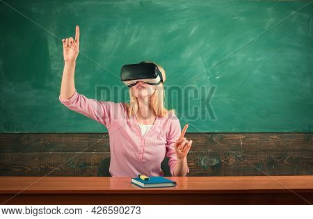 Portrait Of Excited Student Raise Arms Wear Vr Headset. Student Ready To Vr Experience. Woman Sittin