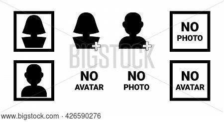 Black Silhouette Icons, Simple Social Concept - Profile, Avatar, Photo, Man And Woman Person, In Fra