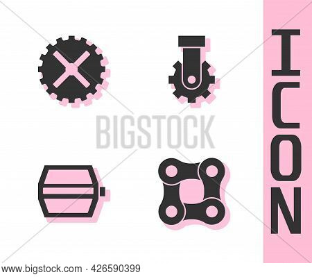 Set Bicycle Chain, Sprocket Crank, Pedal And Derailleur Bicycle Rear Icon. Vector